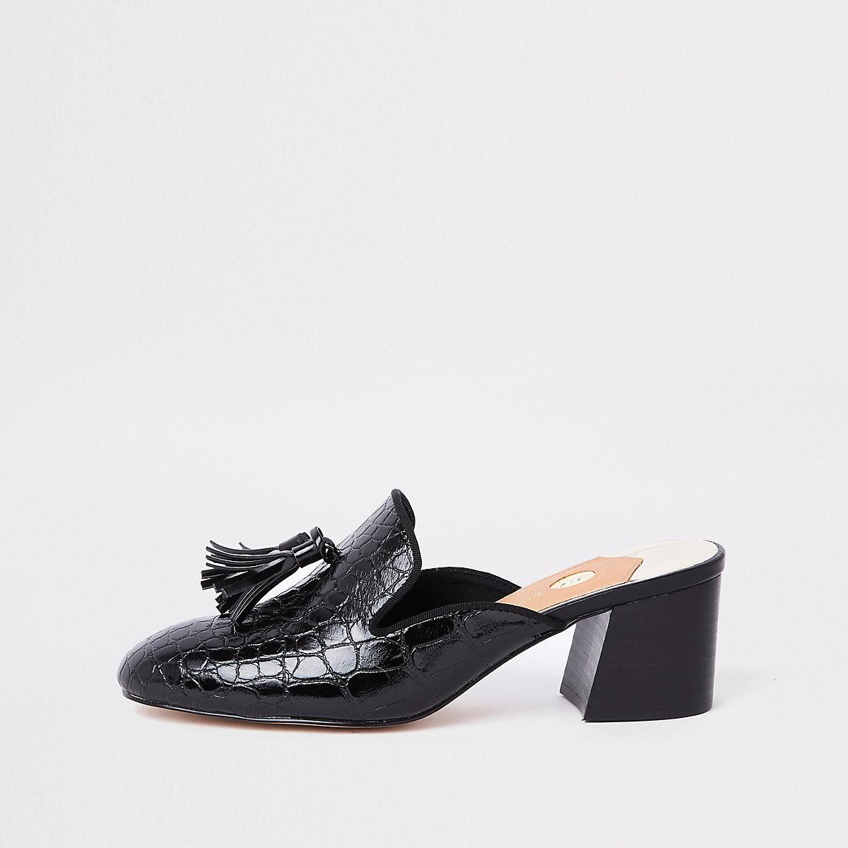 Black croc embossed block heel mules