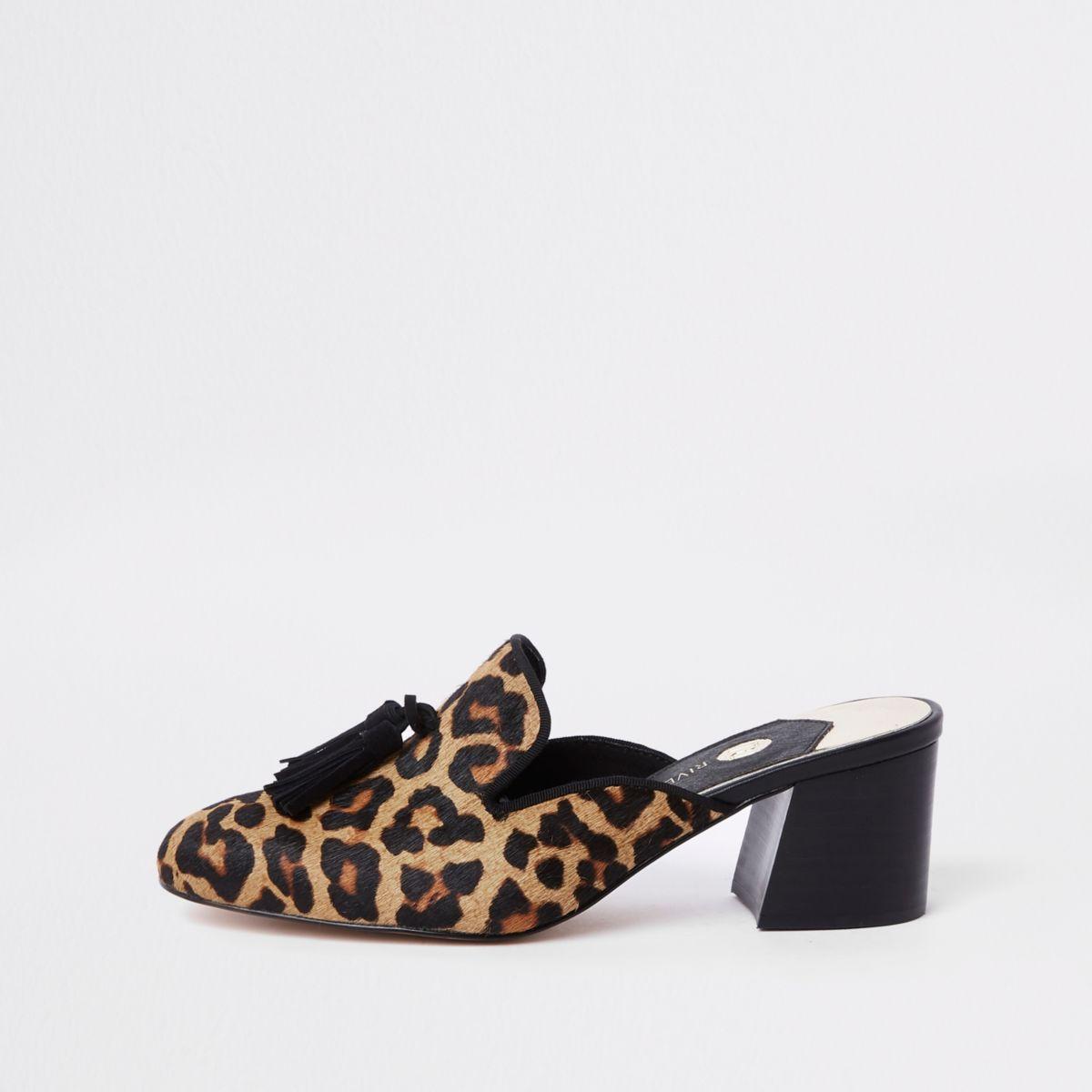 Brown leopard print block heel mules