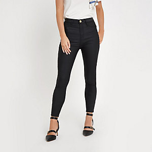 Petite black Harper super skinny coated jeans