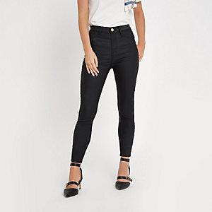 Petite black Harper super skinny coated jeans