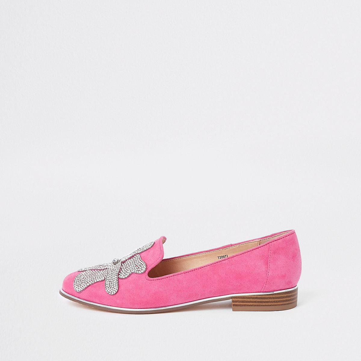 Pink floral diamante embellished loafers