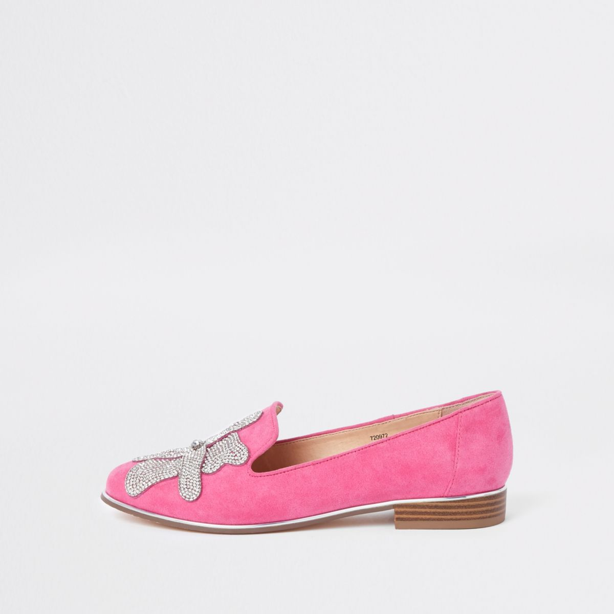 Pink floral diamante embellished loafers