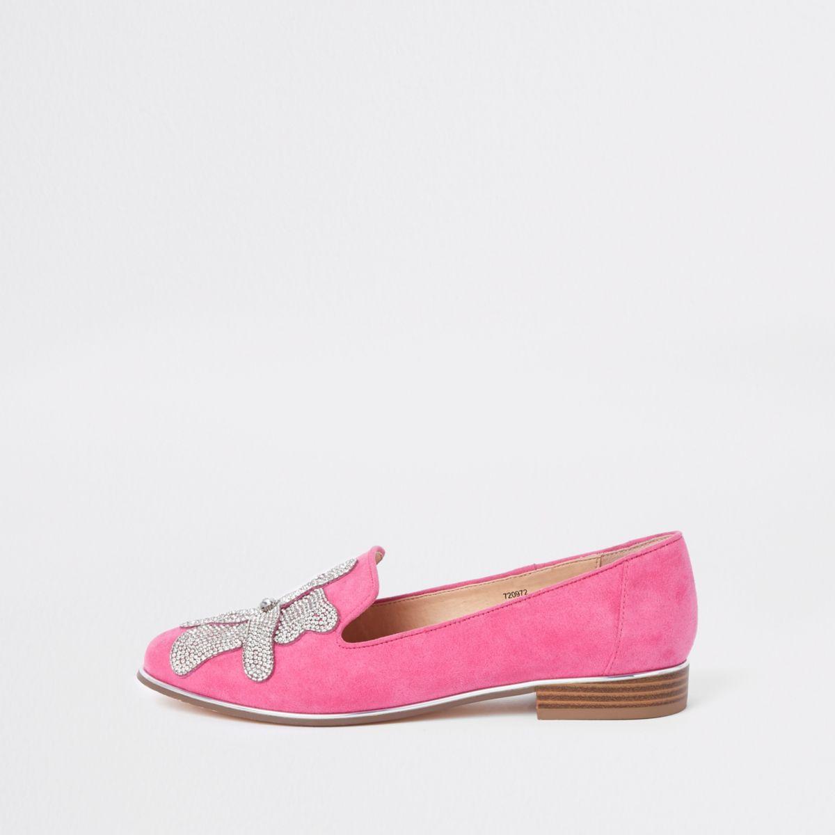 Pink floral rhinestone embellished loafers