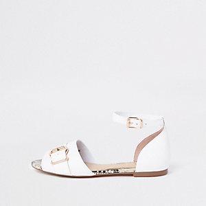 Sandales peep toe blanches à boucle avec bordure serpent