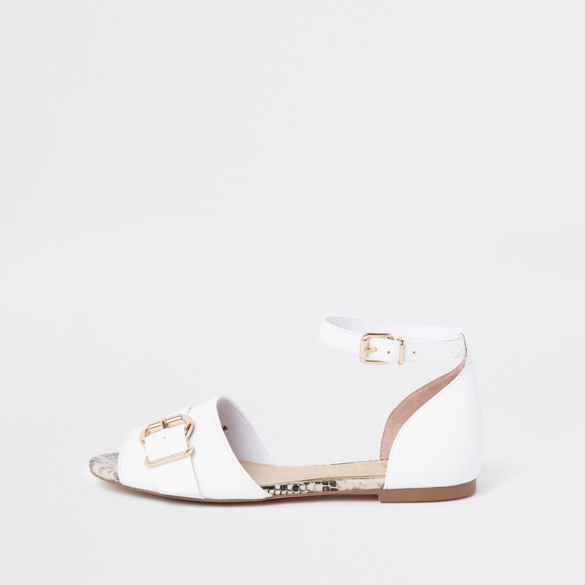 White snake trim peep toe buckle sandals