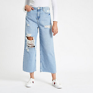 Blue Alexa cropped wide leg ripped jeans