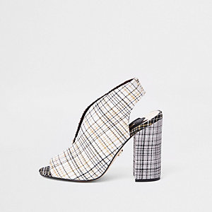 Cream check curve vamp block heel shoe boots