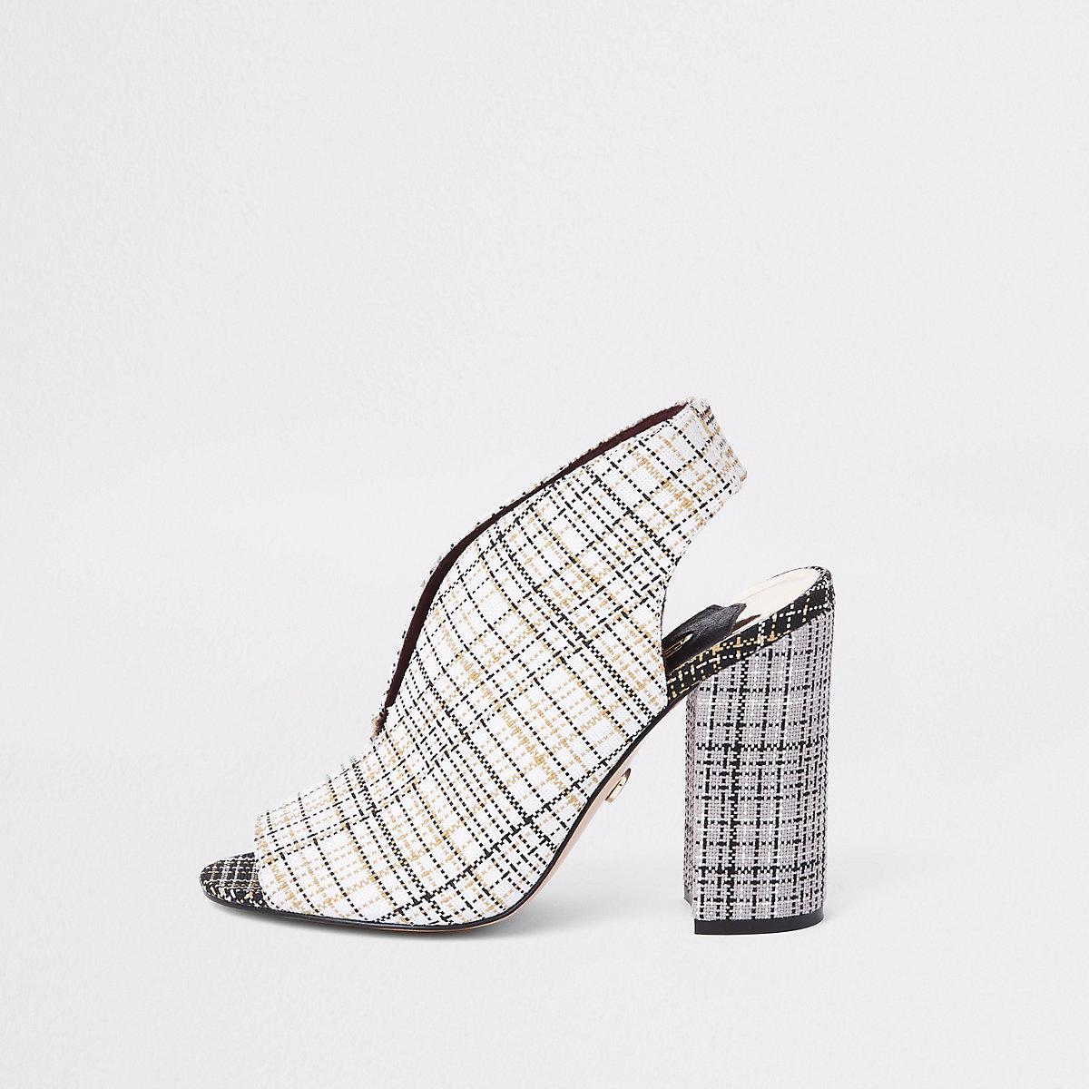 Cream check curve vamp block heel shoe boots