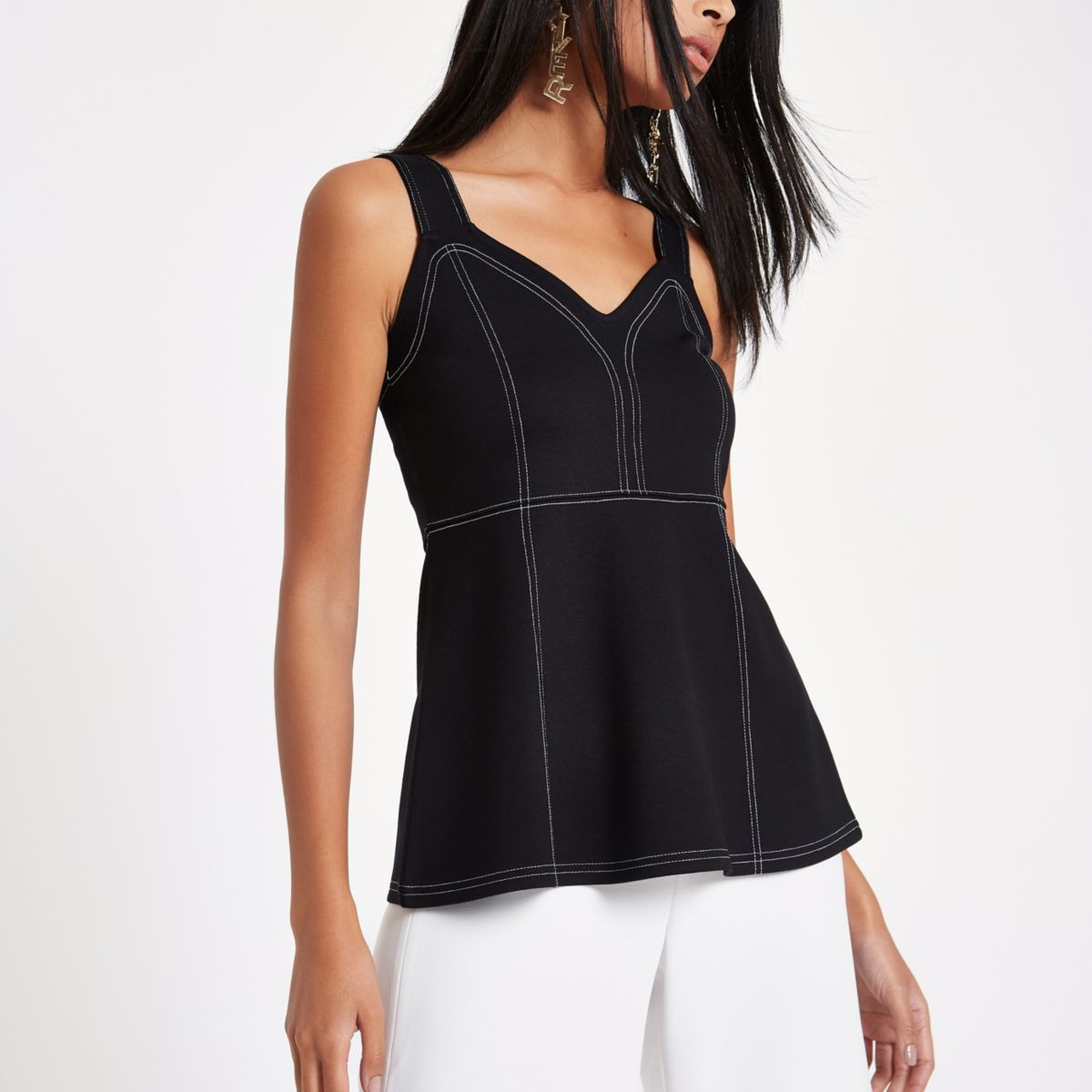 Black contrast stitch peplum cami top