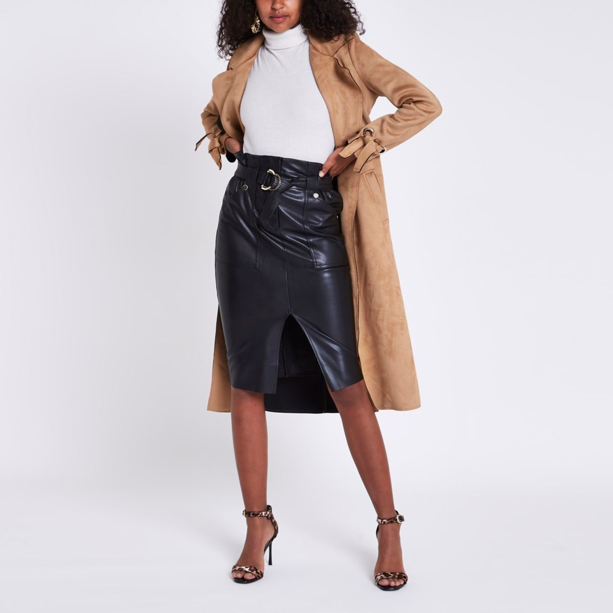 Black faux paperbag waist pencil skirt