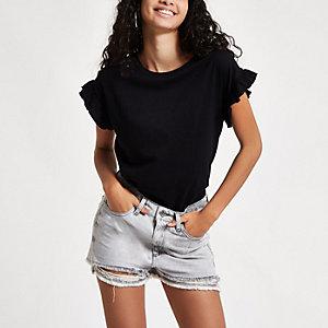 Annie – Graue Jeansshorts mit hohem Bund