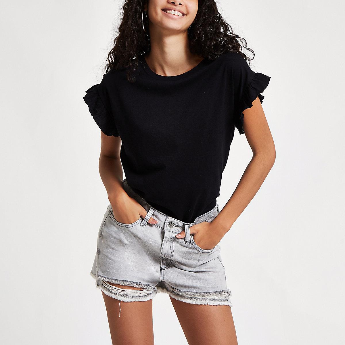 Grey Annie high waisted ripped denim shorts