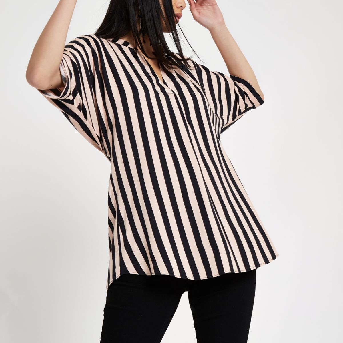Pink stripe twist back top