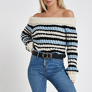 Petite blue knit stripe bardot jumper