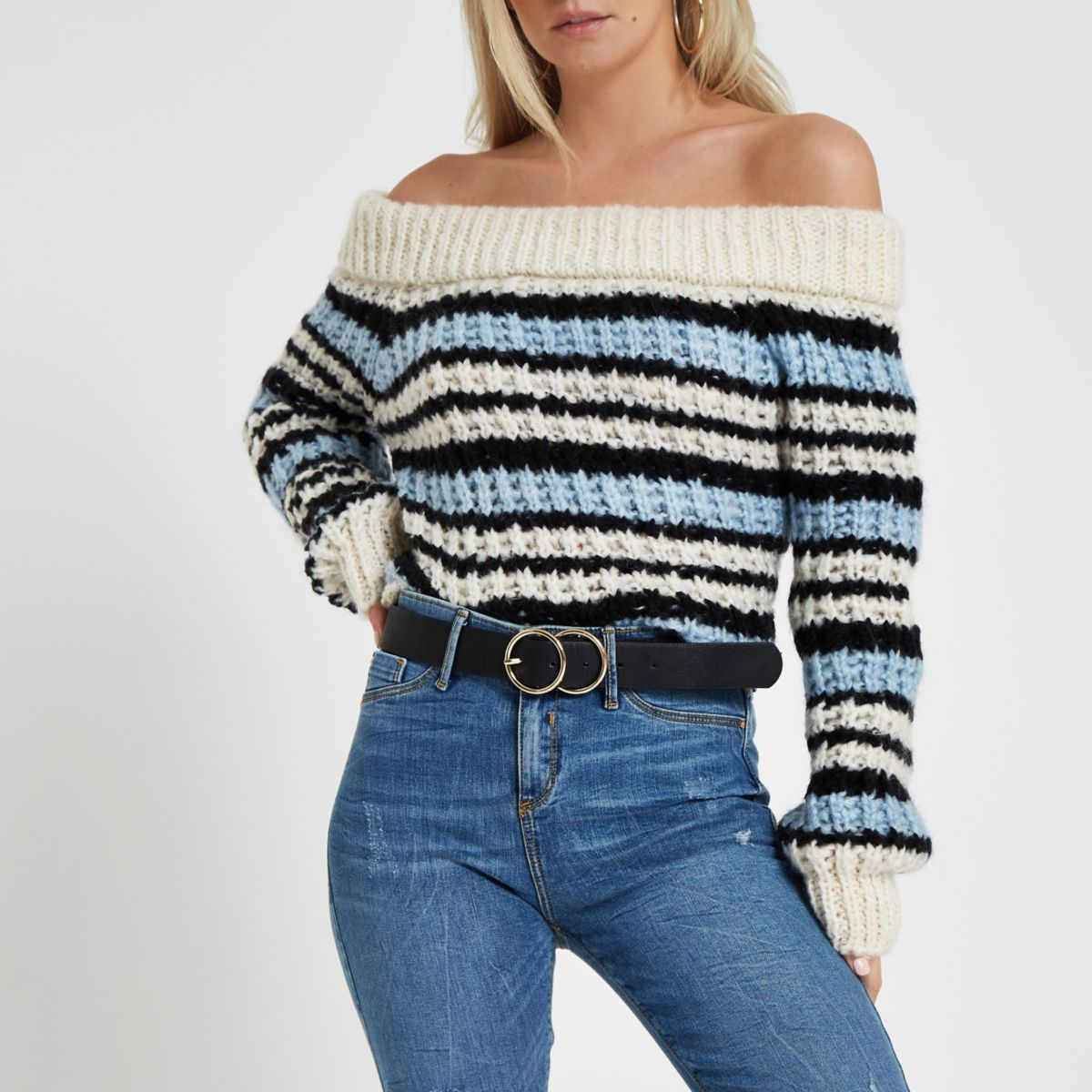 Petite blue knit stripe bardot sweater