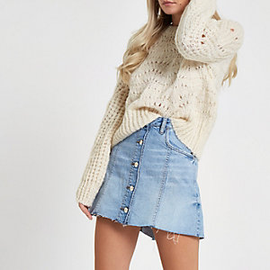 Petite cream knit sweater