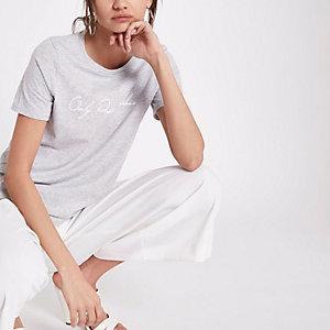 Grijs T-shirt met 'only positive vibes'-print