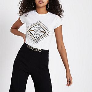 Wit T-shirt met 'Paris'-print en siersteentjes