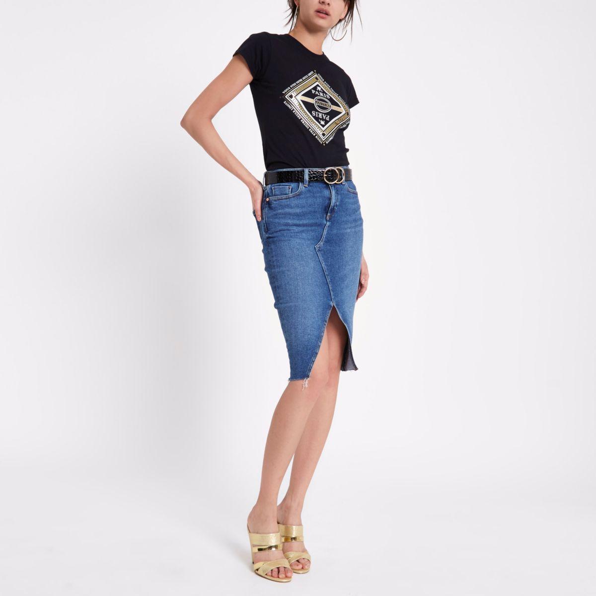Zwart T-shirt met 'Paris'-print en siersteentjes