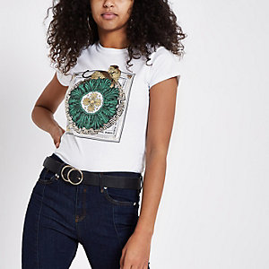 Wit T-shirt met luipaard- en 'eternal paris'-print