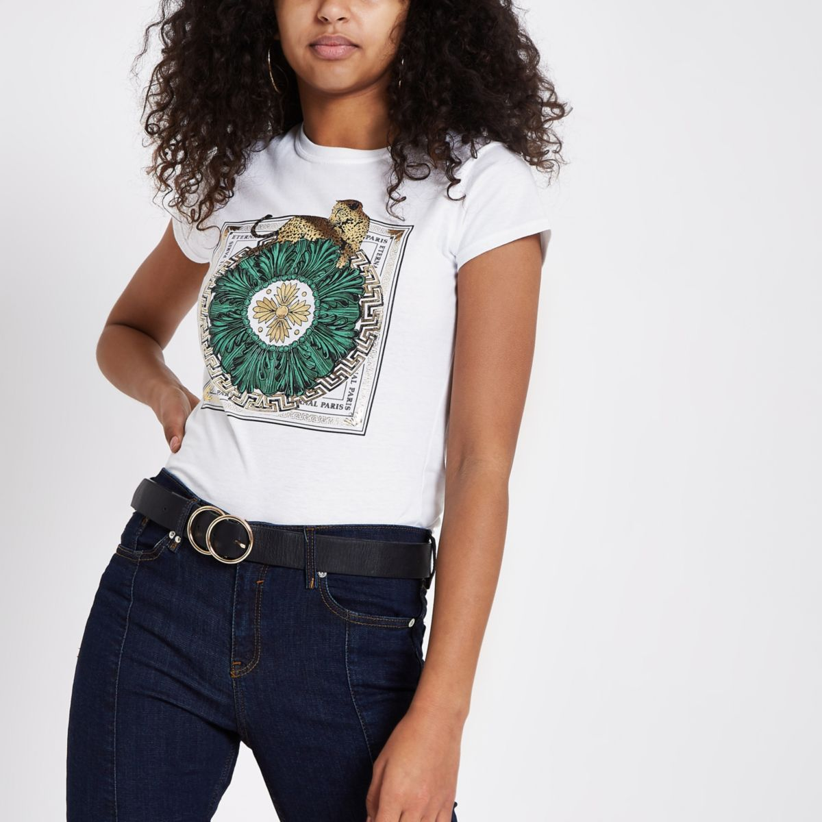 White leopard 'eternal paris' print T-shirt
