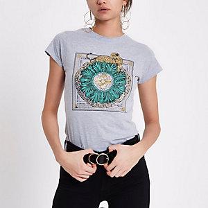 Grey leopard 'eternal paris' print T-shirt
