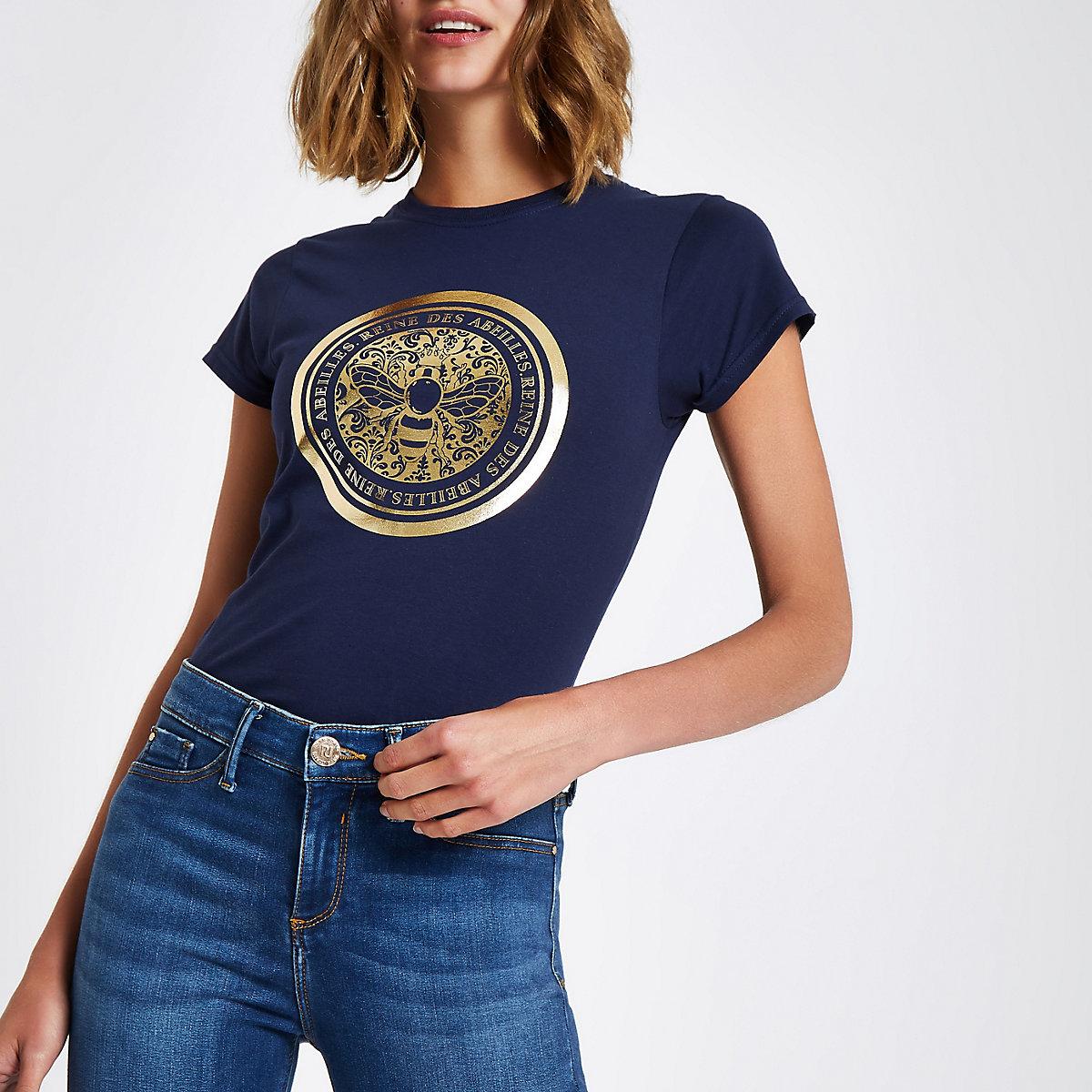 Marineblauw aansluitend T-shirt met bij-folieprint