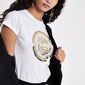 Wit aansluitend T-shirt met bij-folieprint