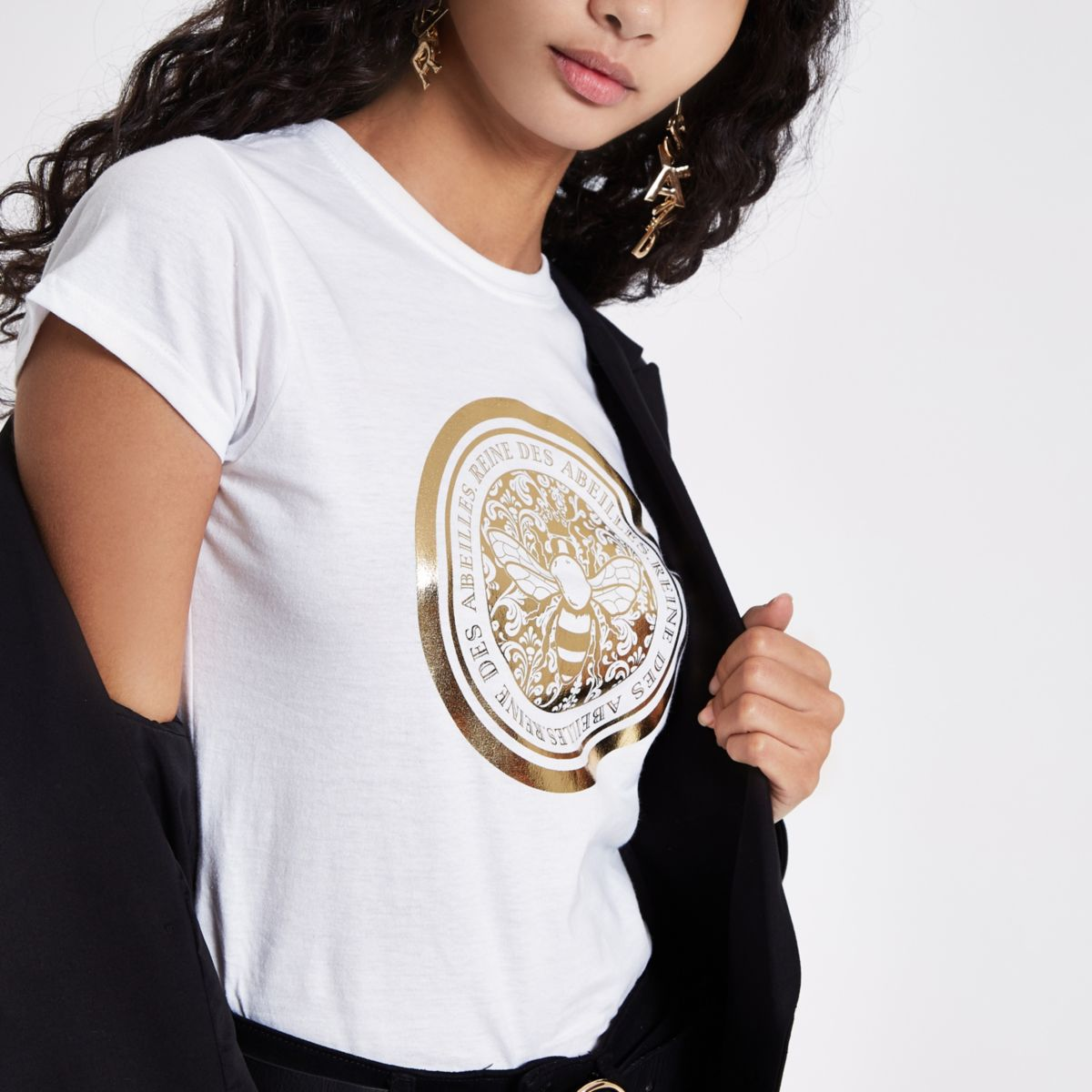 Free Shipping Shopping Online Outlet Cheap Authentic River Island Womens bee foil print fitted T-shirt Cheap Affordable yn8e87