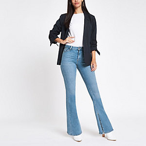 Light blue split hem flare jeans