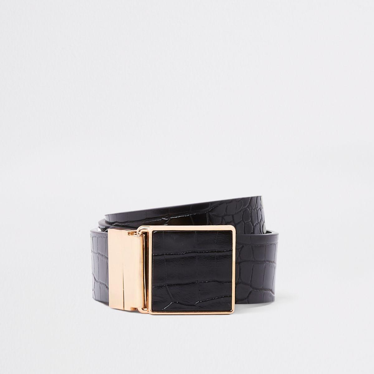 Black croc embossed square buckle jeans belt