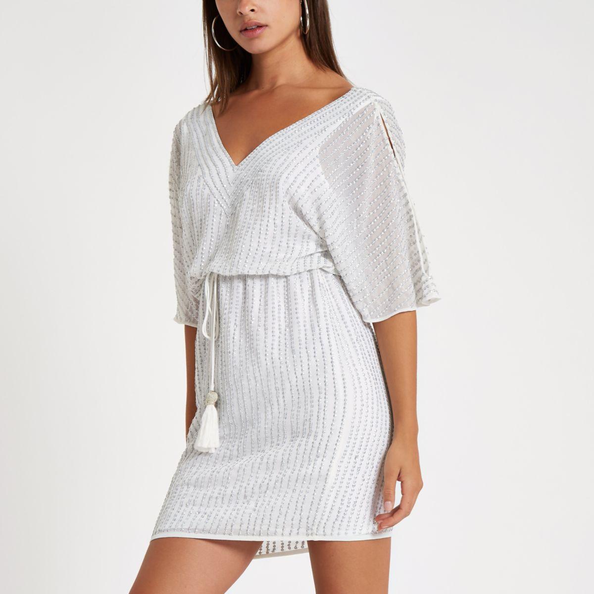White embellished cold shoulder mini dress