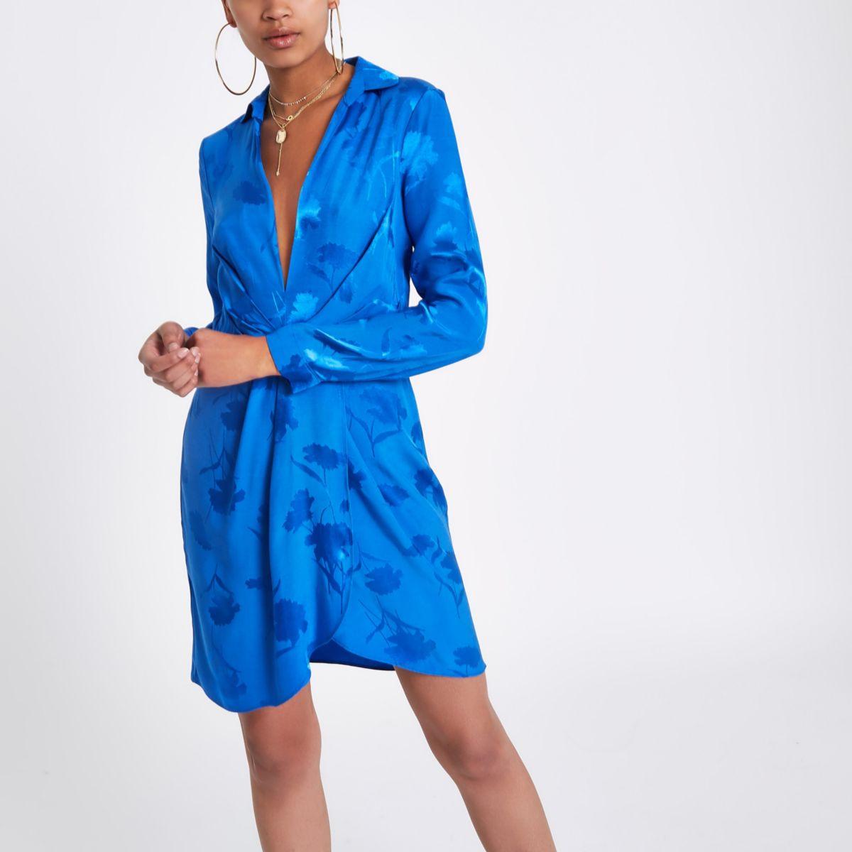 Blue plunge long sleeve shirt dress