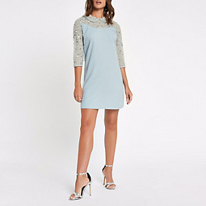Green sequin collar embellished swing dress