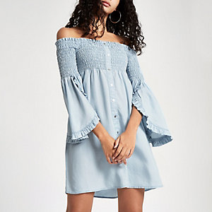 Light blue denim shirred bardot dress