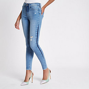 Mid blue Molly shadow side jeggings