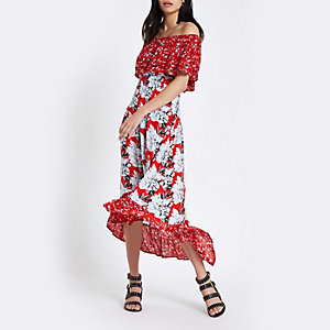 Red floral print bardot high low maxi dress