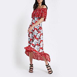 Robe longue Bardot asymétrique à fleurs rouge
