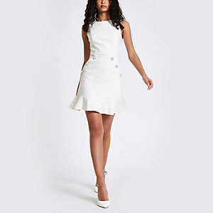 Cream diamante button bodycon dress