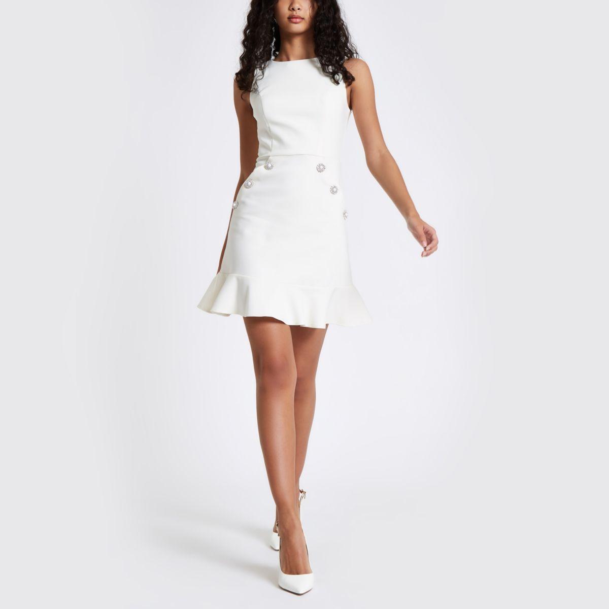 Cream diamante button bodycon dress