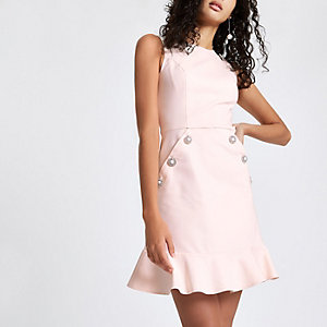 Light pink diamante button bodycon dress