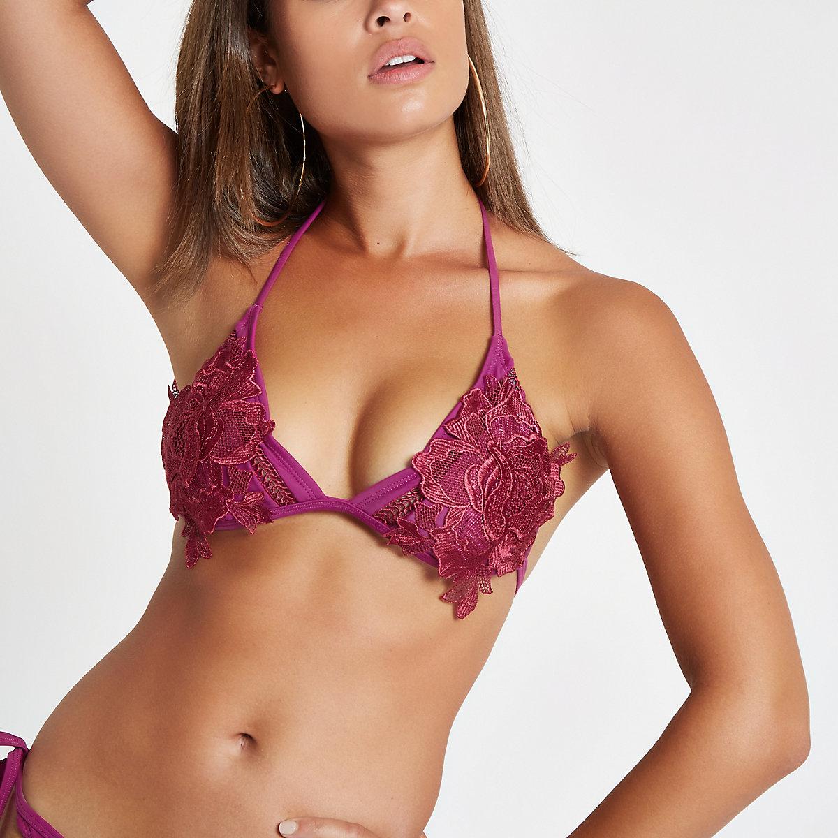 Red floral appliqué plunge bikini top