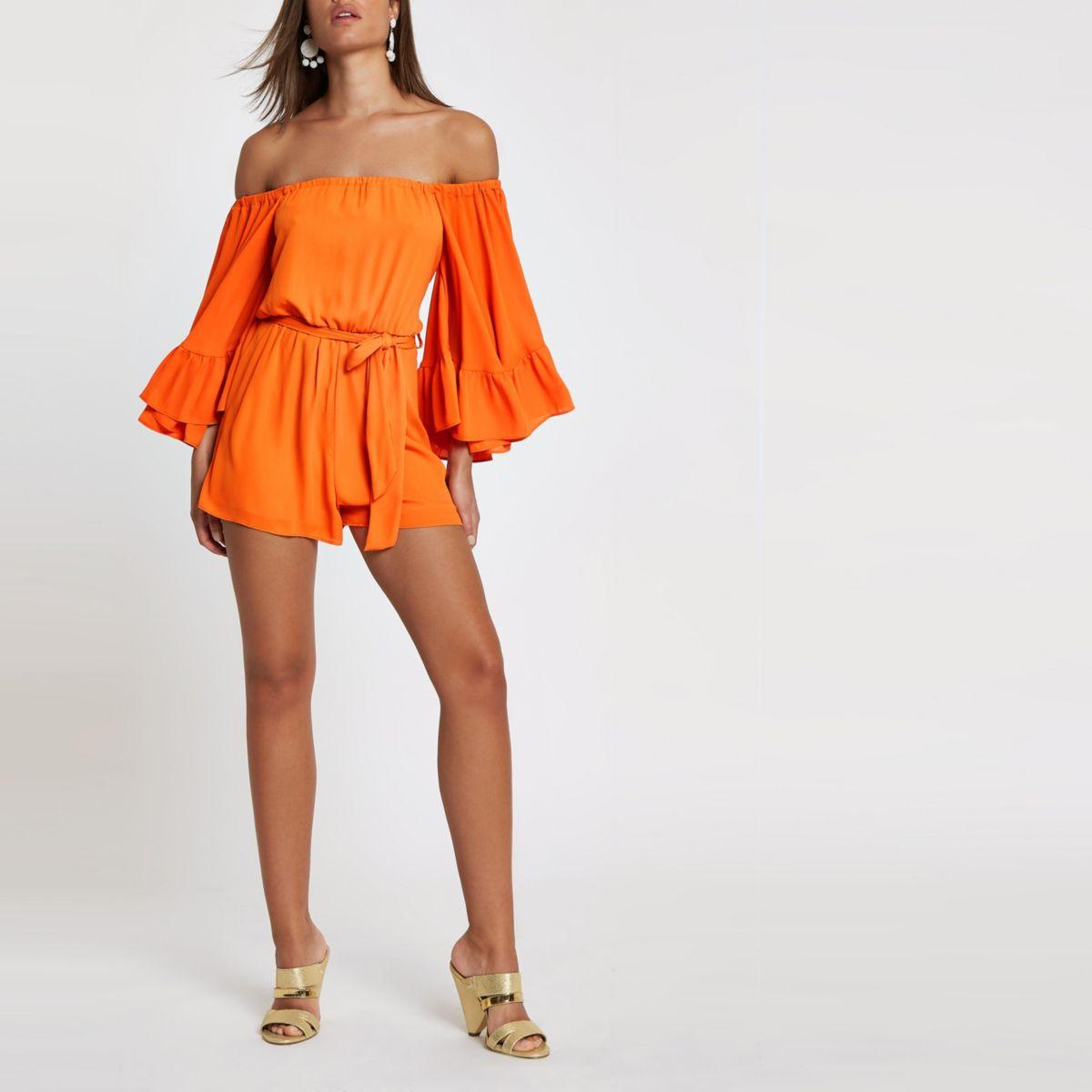 Orange bardot frill sleeve playsuit