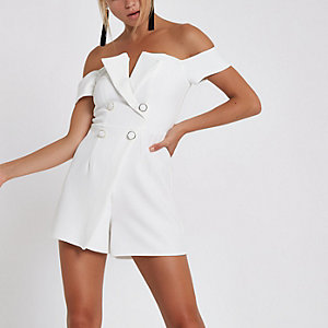 White bardot tux playsuit
