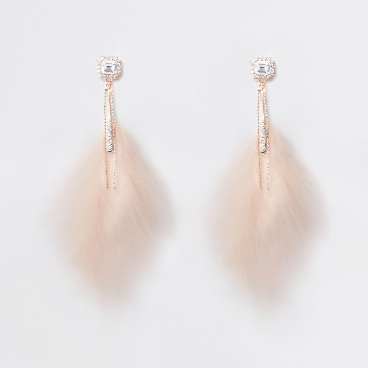 Gold tone feather jewel drop earrings