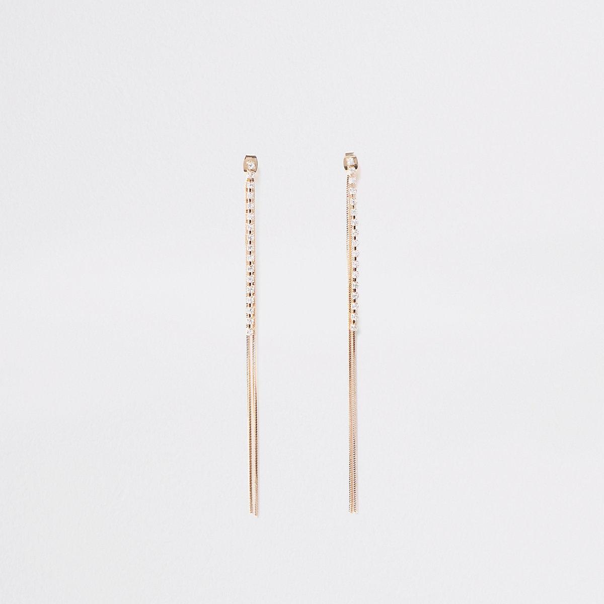 Gold tone slinky cupchain diamante earrings