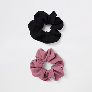 Black hair scrunchie multipack