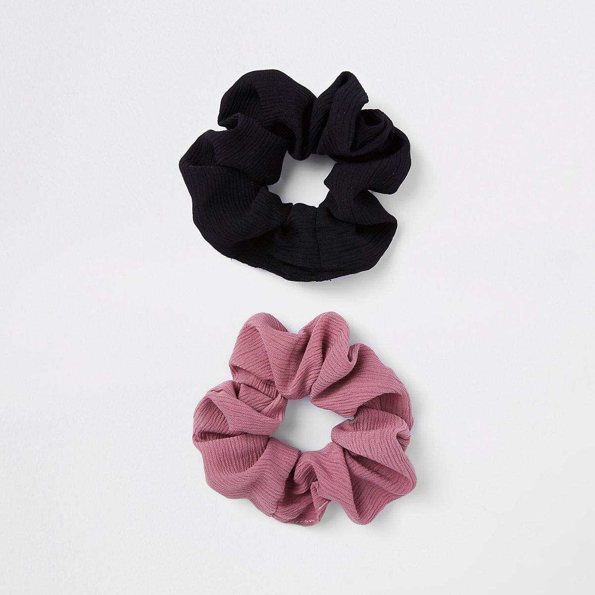Black hair scrunchie multipack
