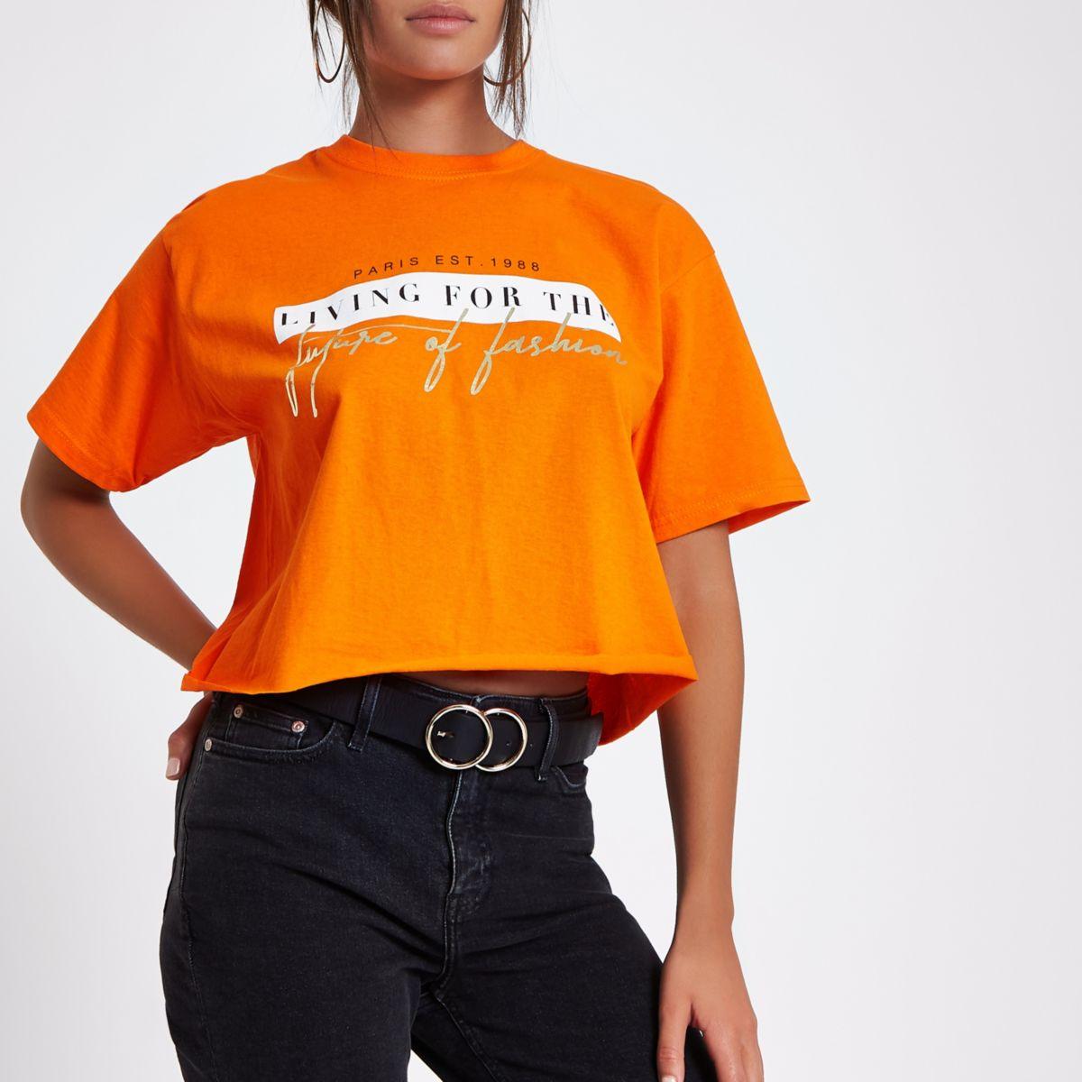 Orange 'future of fashion' cropped T-shirt