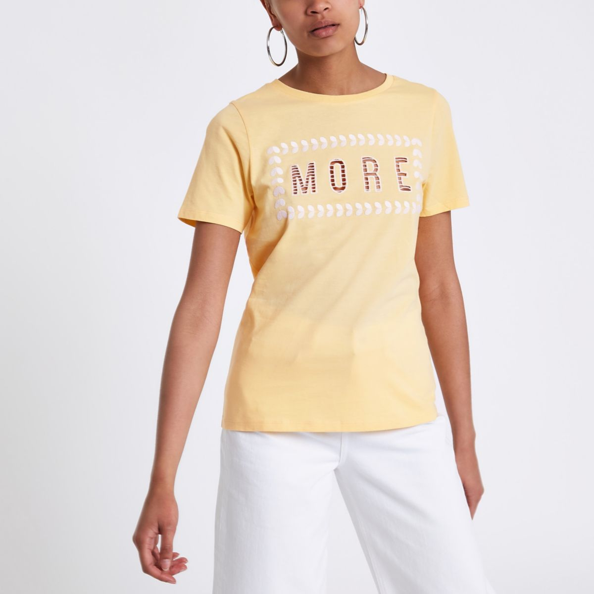 Yellow More' cut out T-shirt